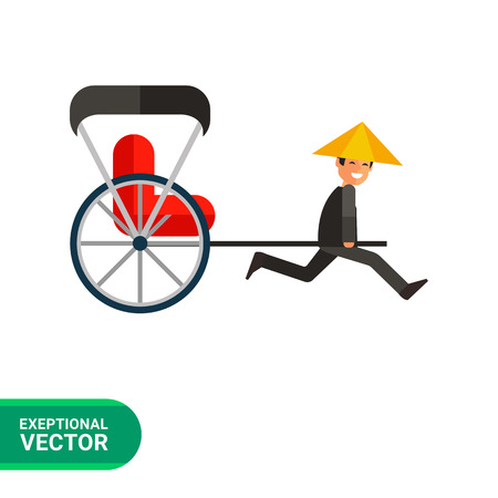 black hat: Image of Japanese rickshaw pulling two-wheeled cart with red passenger seat