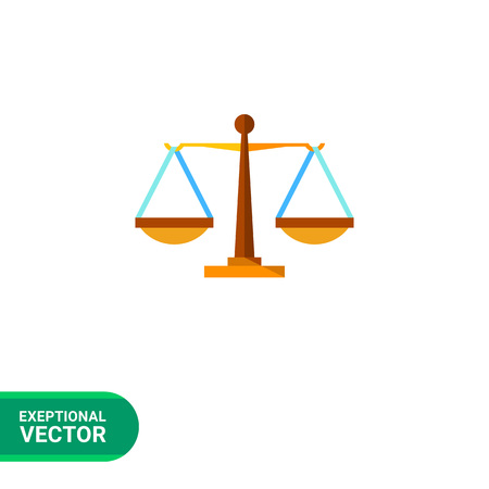 weighing scales: Multicolored vector icon of justice weighing scales