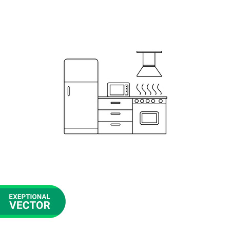 pieces of furniture: Kitchen vector icon. Line illustration of fridge, gas stove and microwave oven in kitchen