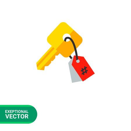 keywording: Keywording vector icon. Multicolored illustration of key with tag symbolizing keyword Illustration