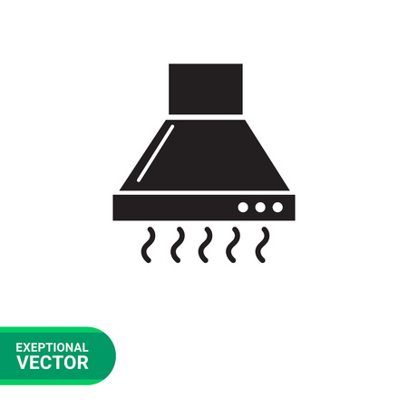 operating: Vector icon of operating kitchen hood silhouette