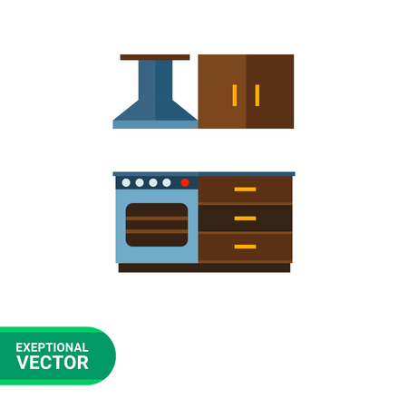 sideboard: Multicolored vector icon of kitchen interior including cooker with oven and kitchen hood, cupboard