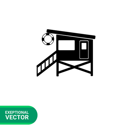 rescuing: Monochrome vector icon of beach lifeguard tower with stairs and safety ring