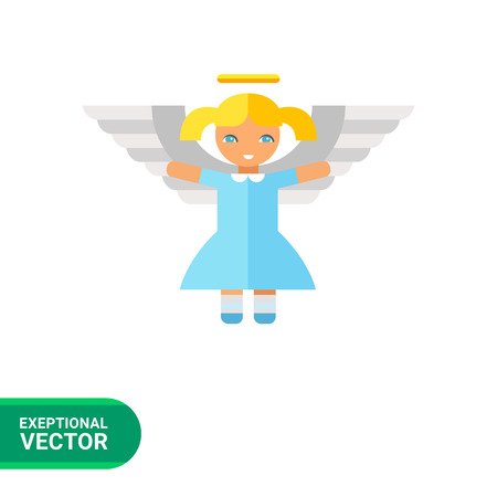 blonde little girl: Icon of cute little blonde angel girl in blue dress with white wings and golden nimbus Illustration