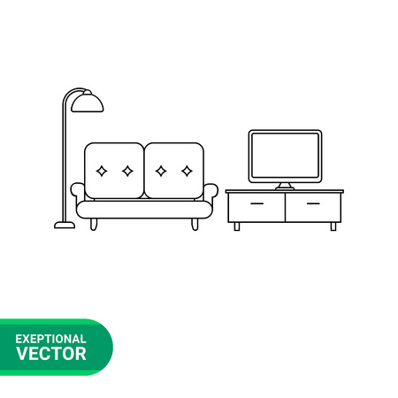 apartment suite: Monochrome vector icon of living room set, couch, floor lamp and TV stand