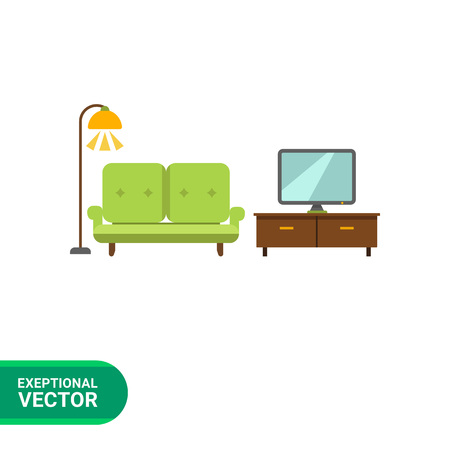 living room tv: Icon of living room interior including couch, TV stand, TV-set and glowing floor lamp Illustration