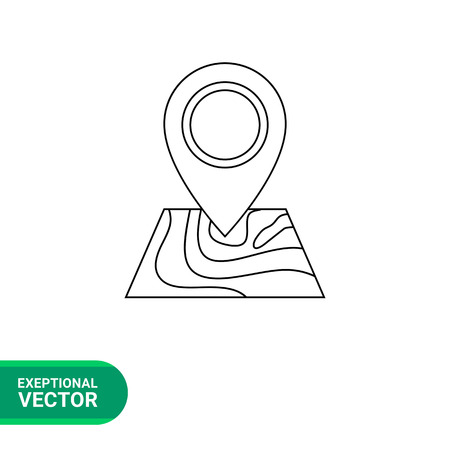 geographical: Vector line icon of location pointer on geographical map