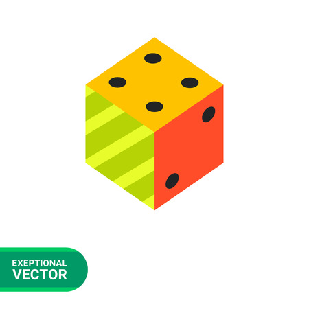 philosophy of logic: Multicolored vector icon of 3d dice representing logic concept
