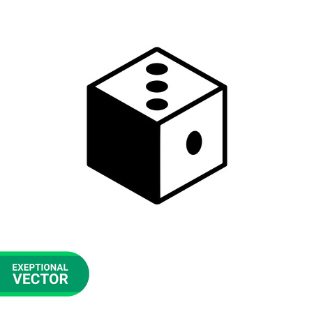 argumentation: Monochrome vector icon of 3d dice representing logic concept
