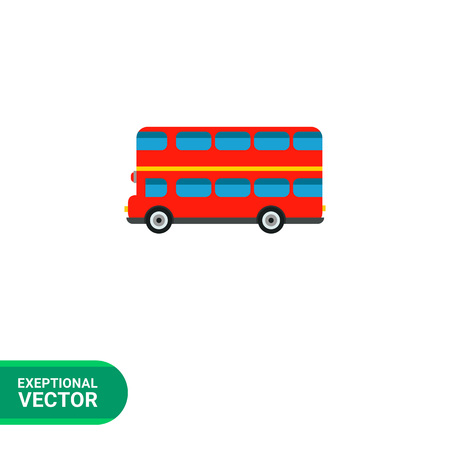 london bus: London bus flat icon. Multicolored vector illustration of double-decker bus