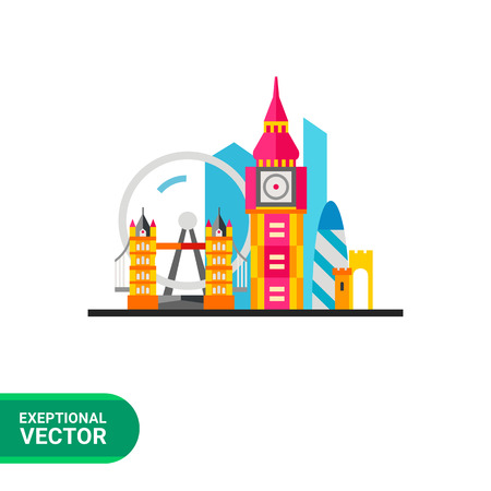 gherkin building: London icon. Multicolored vector illustration of London attractions