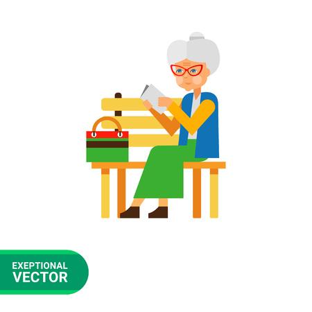 senile: Loneliness flat icon. Multicolored illustration of elderly woman sitting alone in park Illustration