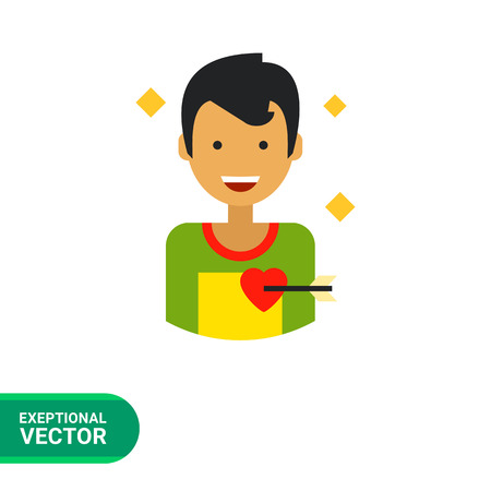 pierced: Multicolored flat icon of happy male character portrait with heart pierced with love arrow