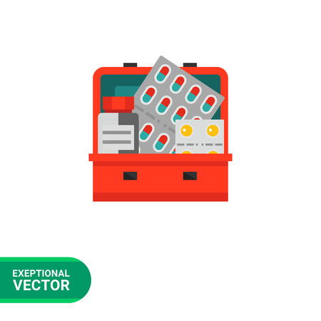 medicine chest: Multicolored vector icon of pills and bottle in medicine chest
