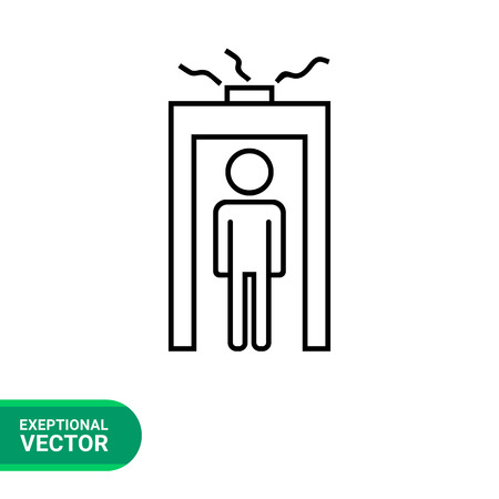 detecting: Icon of man silhouette going through metal detector gate with glowing beam Illustration