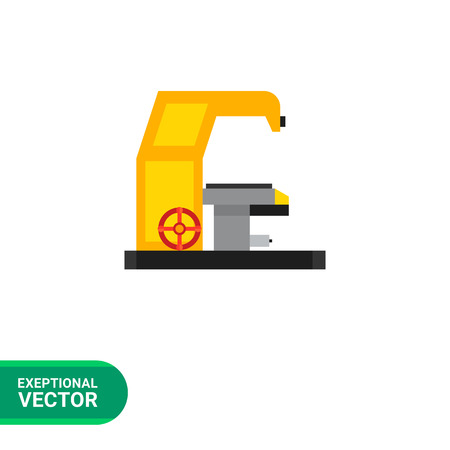 milling: Multicolored vector icon of milling machine with operating desk