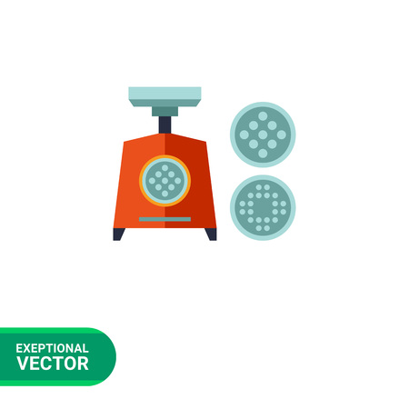 mincing: Multicolored vector icon of electric mincing machine with two replaceable grids