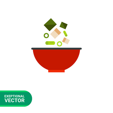 Multicolored vector icon of traditional Japanese miso soup