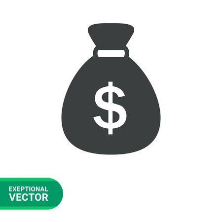 money sack: Icon of money sack with dollar sign Illustration