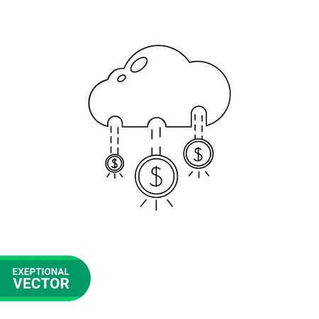 money rain: Money rain icon. Vector illustration of money rain from cloud