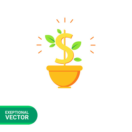 signos de pesos: Icon of dollar sign with leaves in flower pot Vectores