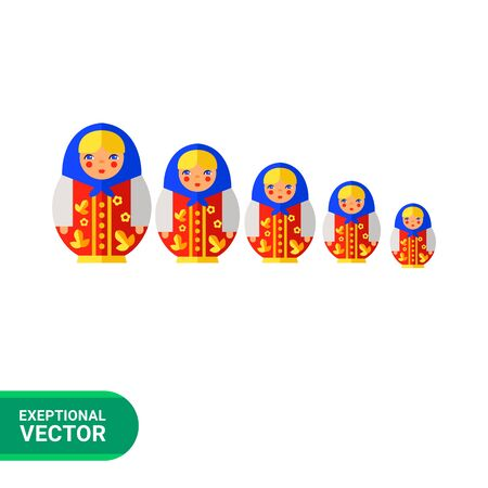 russian doll: Multicolored vector icon of Russian doll matryoshka Illustration