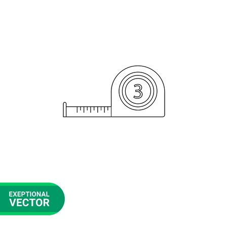 Vector icoon van Zelfoprollend meetlint drie meter lang Stock Illustratie