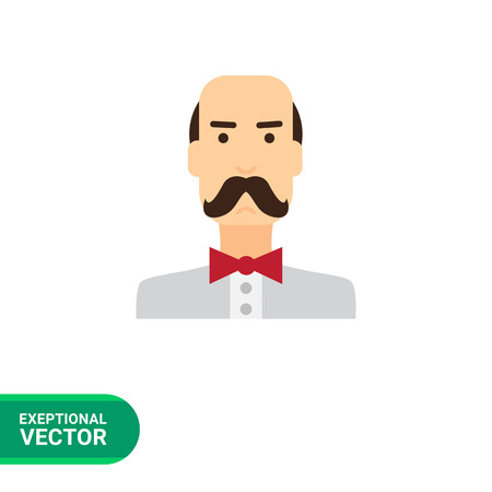 Male character icon, portrait of balding man wearing moustache