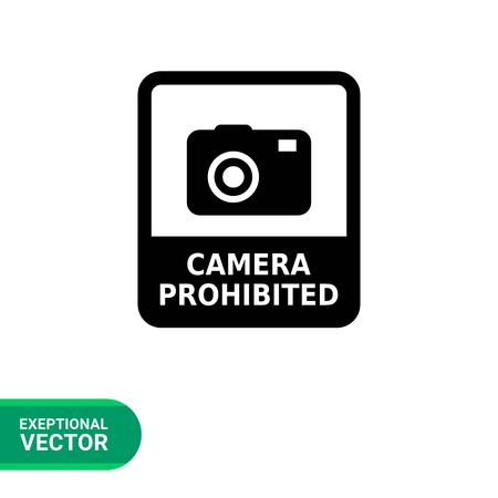 snapshot: Vector icon of Camera prohibited sign depicting snapshot camera with inscription Illustration