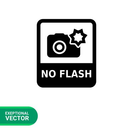 snapshot: Vector icon of No flash sign depicting snapshot camera with flash and inscription