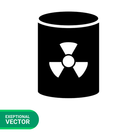 nuclear waste disposal: Icon of barrel with radiation sign