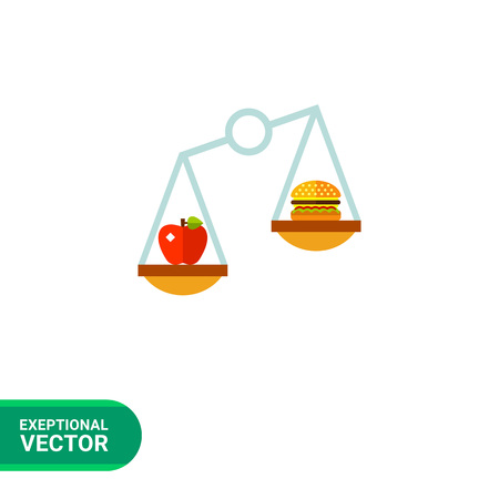 Multicolored vector icon of balance with apple on one scale and hamburger on another representing nutrition concept