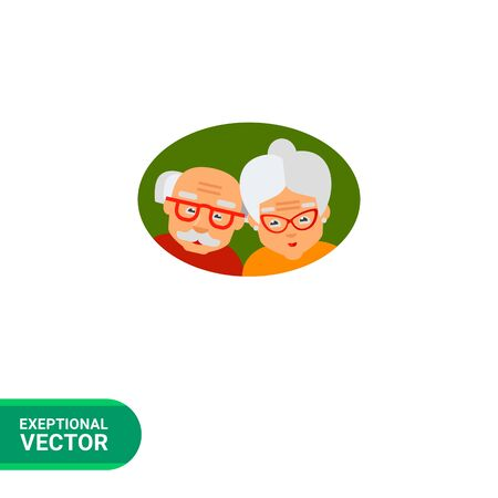 of age: Old age icon. Multicolored vector illustration of elderly couple