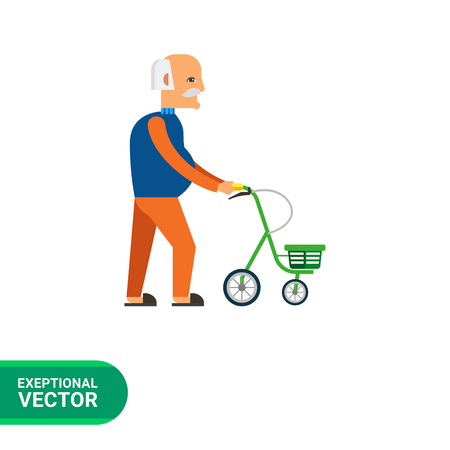 unable: Multicolored flat icon of old man with walkers