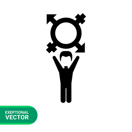 sexuality: On coming out vector icon. Black illustration of male character with transgender symbol