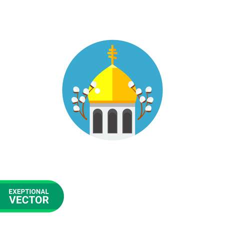 Icon of Orthodox church with golden dome and two willow branches in blue circle