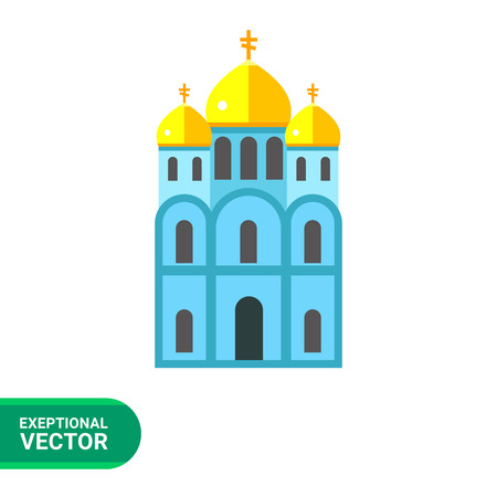 orthodox: Icon of blue Orthodox church with three golden domes