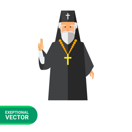 Icon of grey-haired bearded orthodox priest in black cassock with golden cross