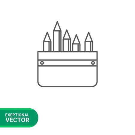 pencil case: Icon of pencil case with pencils