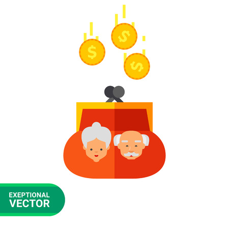pension: Pension icon. Multicolored vector illustration of purse with coins