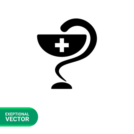 snake and a bowl: Pharmacy simple icon. Black vector illustration of bowl with medical cross and snake Illustration