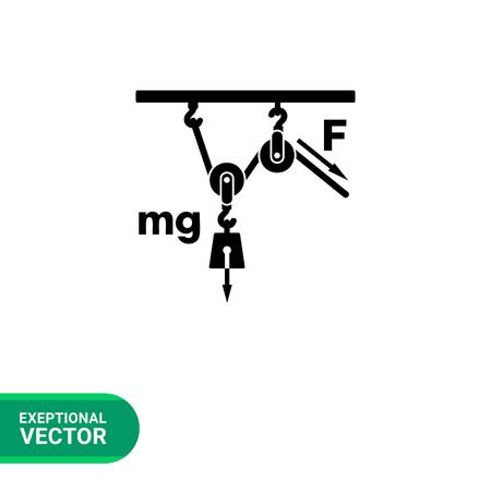 movable: Monochrome vector icon of loaded movable pulleys representing physics concept Illustration
