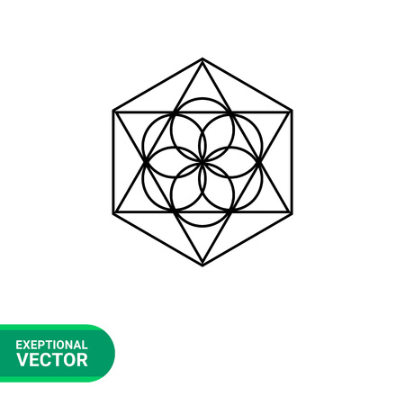 metaphysics: Monochrome vector icon of abstract geometric circle and polygon elements representing philosophy