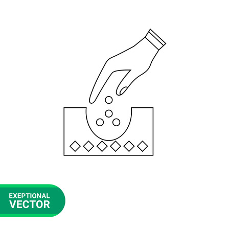 plant seed: Planting vector icon. Illustration of hand putting seeds into ground