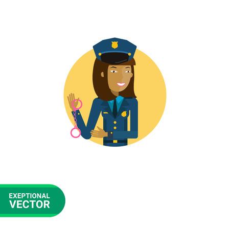 femme policier: Personnage féminin, portrait de jeune policière tenant menottes asiatiques