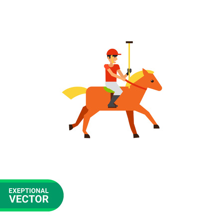 brown horse: Multicolored flat icon of polo sport player in red uniform riding brown horse