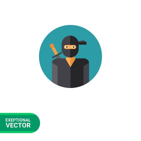 ninjutsu: Multicolored vector icon of portrait of ninja wearing mask