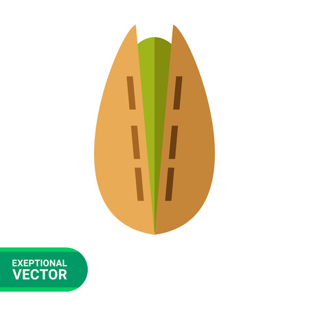 pistachio: Multicolored vector icon of one cracked pistachio Illustration