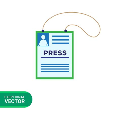 allowing: Vector icon of press accreditation card on string Illustration