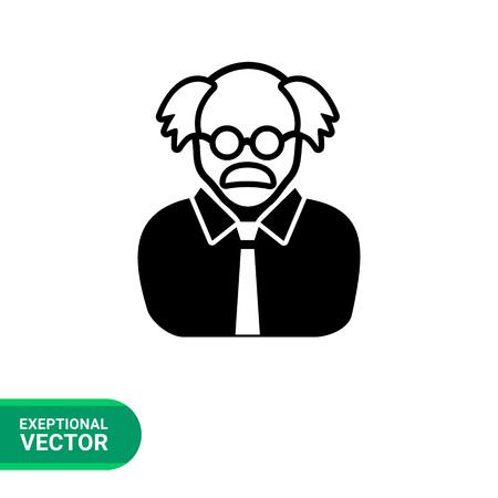 balding: Monochrome vector icon of professor, old balding man wearing glasses Illustration